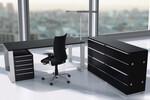 Quandos Collection: Schreibtisch 1800x800x720-820mm, Alurahmengestell; Rollcontainer und Schrankmodul