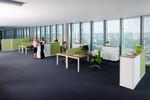 Teamorientiertes Arbeiten wird durch die Aufteilung im Großraumbüro gefördert - fm all in one